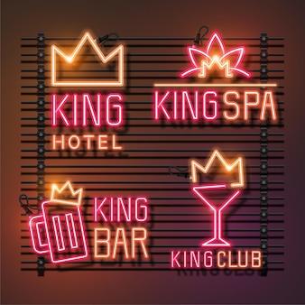 Insieme dell'insegna al neon del re. king hotel, king spa, king bar e king club. neon rosa e arancio.