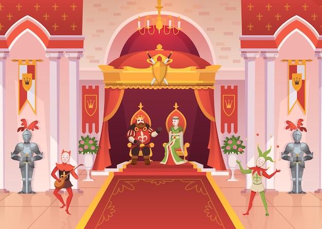 Re e regina. interni di lusso palazzo reale medievale trono monarchia sala cerimonia con colonne e tappeti, giullari e cavalieri fantasy, personaggi dei cartoni animati di fiaba