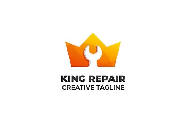 King repairman wrench automotive logo aziendale