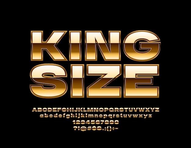 Alfabeto d'oro king size. carattere lucido di lusso. lettere, numeri e simboli riflettenti chic.