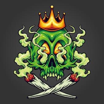King skull cannabis weed smoking illustrazioni vettoriali per il tuo lavoro logo, t-shirt di merchandising mascotte, adesivi e design di etichette, poster, biglietti di auguri che pubblicizzano aziende o marchi.