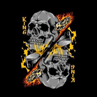 Illustrazione del cranio del re