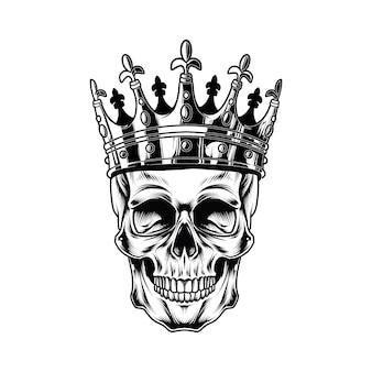 Re cranio isolato su bianco