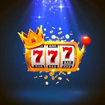 King slot 777 banner casinò su sfondo blu. illustrazione vettoriale