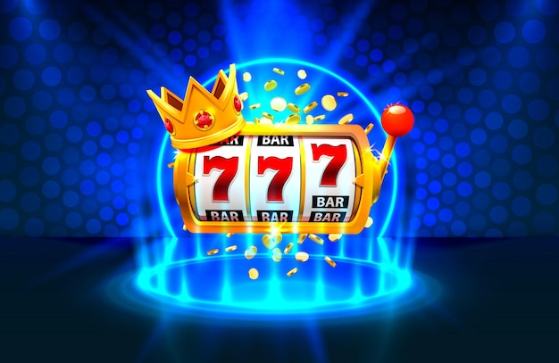 King slot 777 banner casinò sullo sfondo blu.