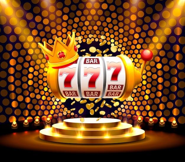 King slot 777 banner casinò sullo sfondo dorato. illustrazione vettoriale