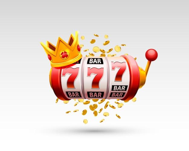 King slot 777 banner casinò su sfondo bianco. illustrazione vettoriale