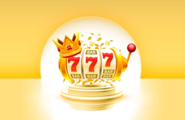 King slot 777 banner casinò su sfondo giallo.