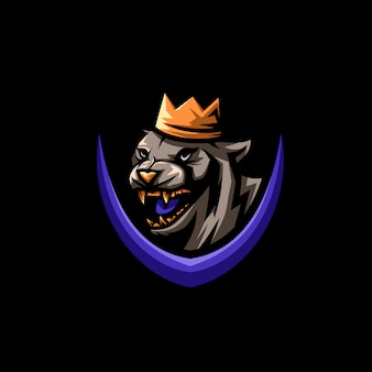 Illustrazione logo re tigre Vettore Premium
