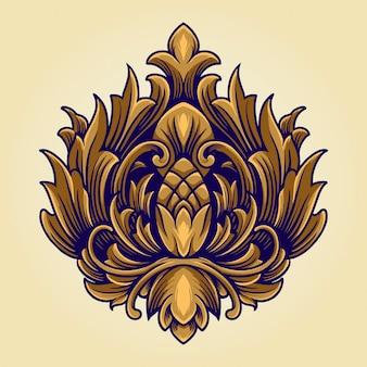 Simbolo della corona del regno logo ornato antico