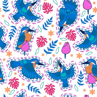 Kingfisher seamless pattern su sfondo bianco.