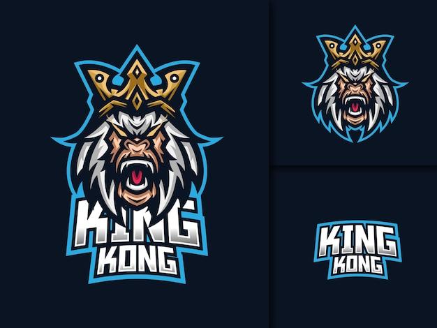 Modello di logo della mascotte di gioco di kingkong esport Vettore Premium
