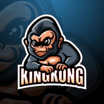 Kingkong mascot esport logo illustrazione