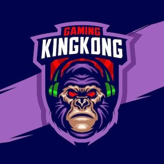 Modello di logo di gioco mascotte kingkong