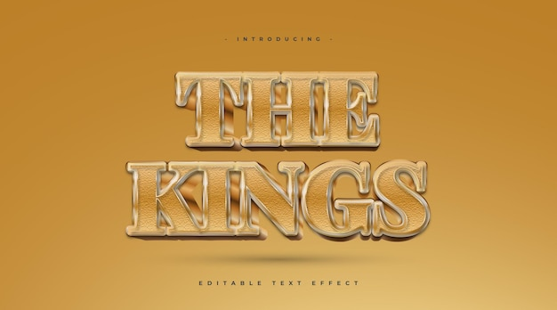Il testo del re in stile oro con effetto strutturato