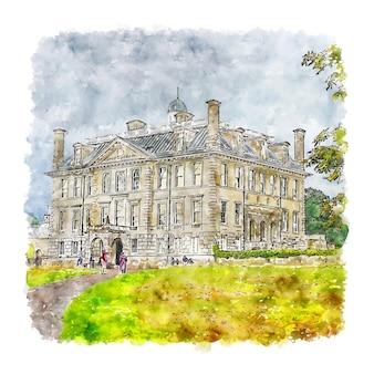 Illustrazione disegnata a mano di schizzo dell'acquerello di kingston lacy castle italia