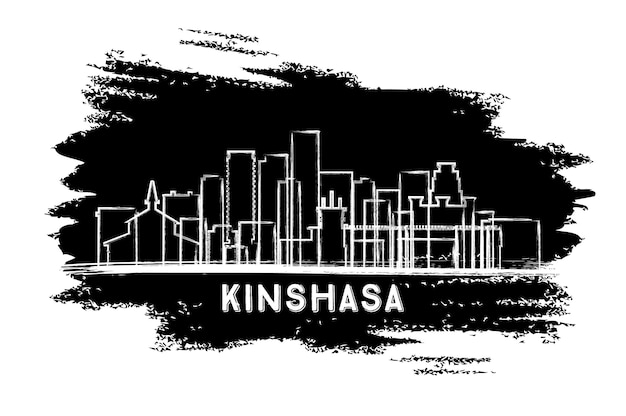 Siluetta dell'orizzonte della città di kinshasa congo. schizzo disegnato a mano. illustrazione di vettore. viaggi d'affari e concetto di turismo con architettura moderna. paesaggio urbano di kinshasa con punti di riferimento.