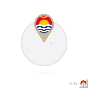 Kiribati mappa e bandiera in cerchio. mappa di kiribati, spilla della bandiera di kiribati. mappa di kiribati nello stile del globo. illustrazione di vettore.