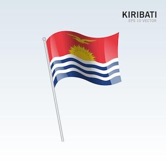 Kiribati sventola bandiera isolata su gray