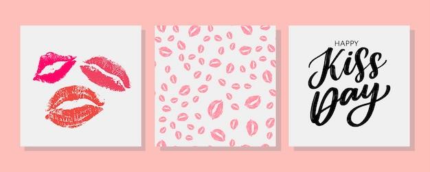 Baciami la cartolina d'auguri, poster con le labbra dell'acquerello disegnate a mano rosa.