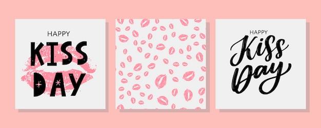 Baciami la cartolina d'auguri con le labbra dell'acquerello disegnate a mano rosa