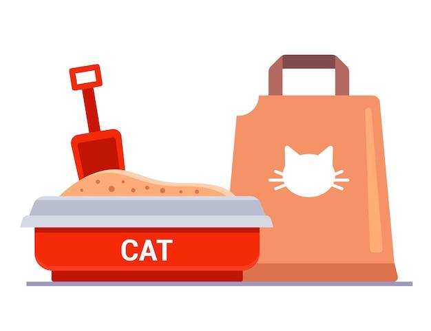 Kit per lettiera per gatti. sacchetto con riempitivo per vassoio.