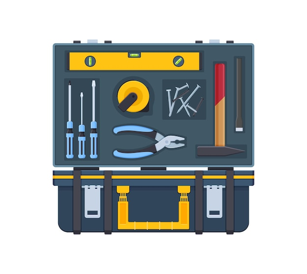 Kit strumenti casalinghi scatola aperta. attrezzature artigiane per la riparazione e la costruzione. cassetta degli attrezzi