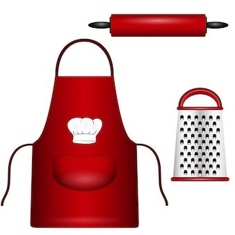 Accessori da cucina sullo sfondo, illustrazione vettoriale