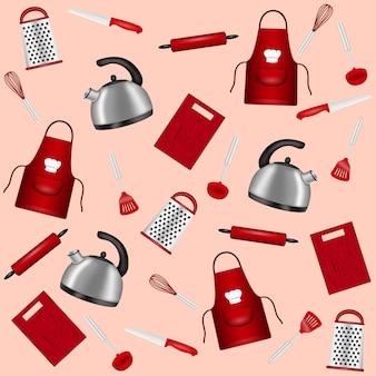 Accessori da cucina sullo sfondo, illustrazione vettoriale Vettore Premium