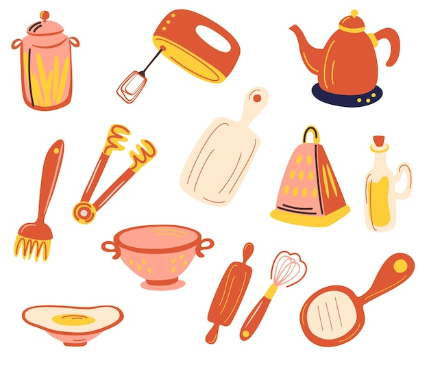 Set di accessori per la cucina. stoviglie e utensili. sbattitore manuale, grattugia, frusta, tagliere, lattine, scolapasta, bollitore. per il modello di scheda ricetta moderna impostato per il libro di cucina. illustrazione piana di vettore.