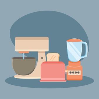 Icone di elettrodomestici da cucina su sfondo blu