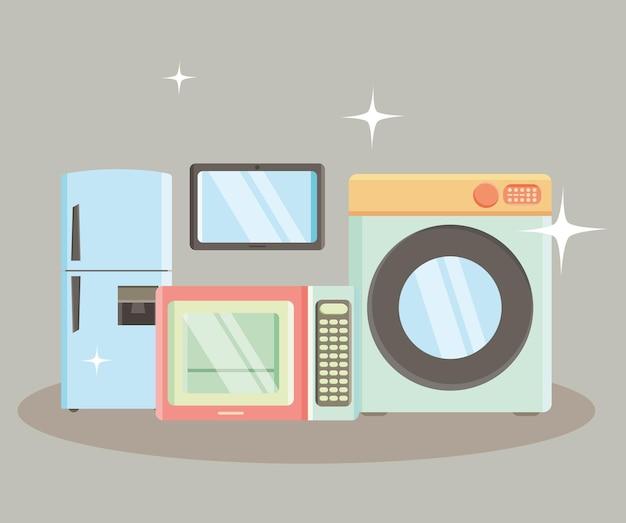 Illustrazione di elettrodomestici da cucina con icone