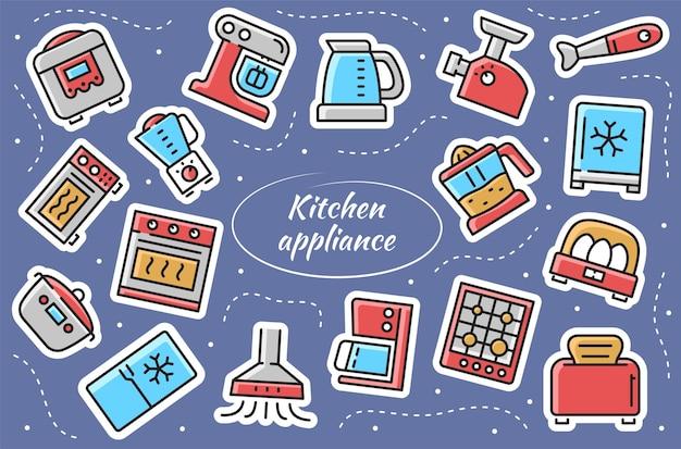Elettrodomestici da cucina - set di adesivi. collezione casalinga da cucina. illustrazione vettoriale.
