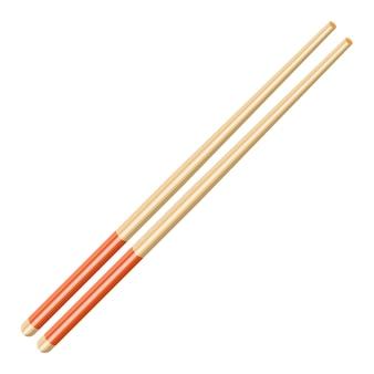 Icona di bacchette asiatiche cucina. bastoncini in legno di bambù per alimenti. illustrazione vettoriale in stile piatto