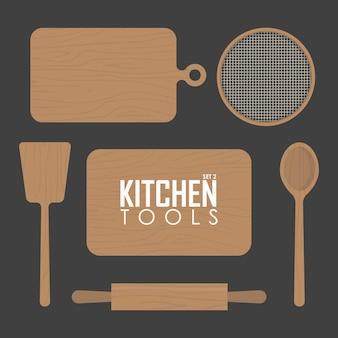 Tavole da cucina e illustrazione vettoriale di utensili in legno