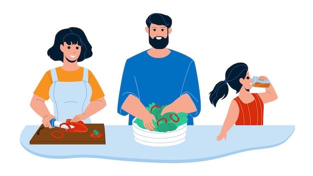Cucina colazione preparare la famiglia insieme vettore. la madre che taglia la verdura della paprica, il padre prepara la colazione dell'insalata e la figlia che beve il succo. personaggi cibo mattutino piatto fumetto illustrazione