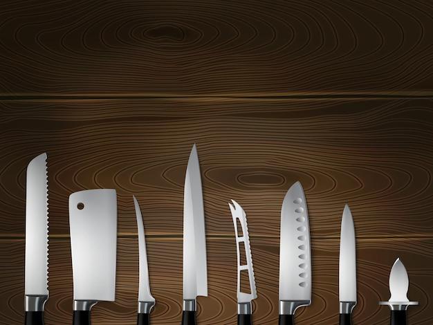 I coltelli dei macellai della cucina hanno messo l'immagine realistica del primo piano su fondo di legno scuro con l'illustrazione della mannaia dell'intagliatore dell'affettatrice