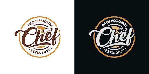 Modello di logo chef di cucina