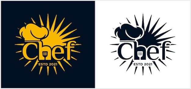 Logo dello chef wordmark modello logo chef della cucina logo dello chef scritte a mano con cappello chef simbolo icona logo design