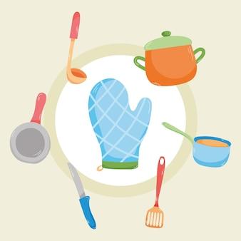 Set di icone di pentole da cucina