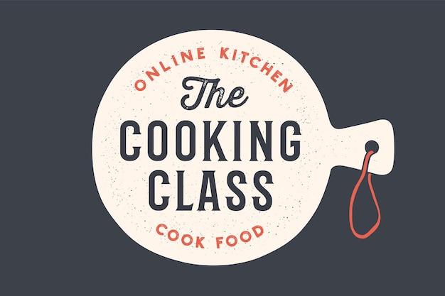 Tagliere da cucina con sfondo di lezione di cucina