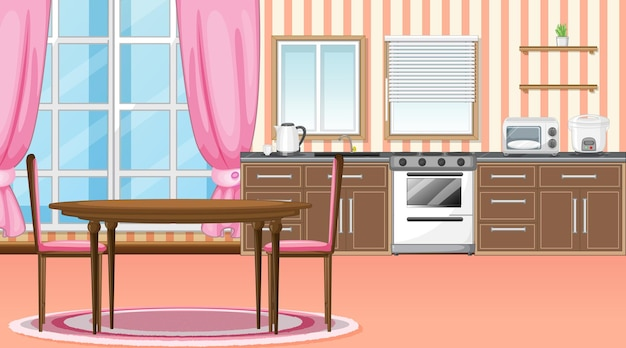Interior design della cucina e della sala da pranzo con mobili