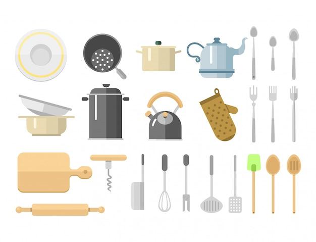 Illustrazione quotidiana della mobilia dei piatti dell'attrezzatura domestica isolata icone piane di vettore dei piatti della cucina.