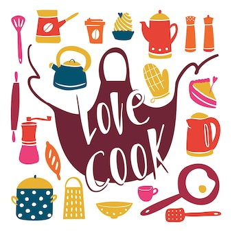 Attrezzatura da cucina in stile scarabocchio diversi strumenti da cucina