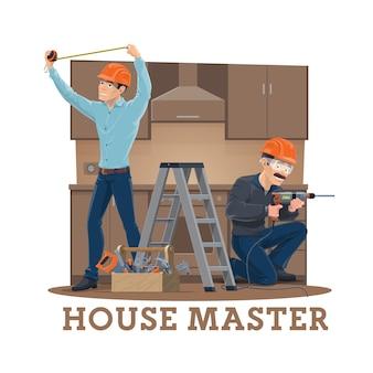 Montaggio, installazione o riparazione di mobili da cucina Vettore Premium