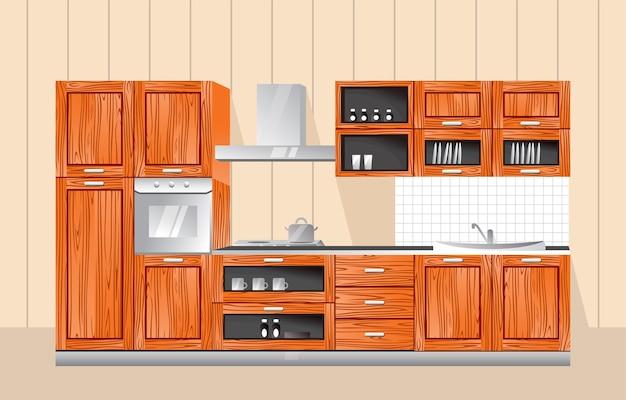 Illustrazione di mobili da cucina con stile in legno