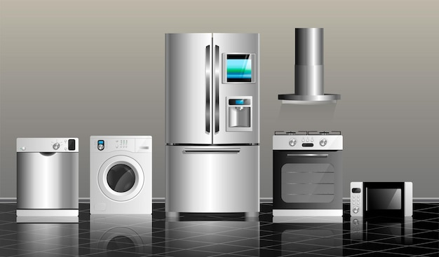 Elettrodomestici da cucina su una piastrella nera e su un muro grigio illustrazione vettoriale