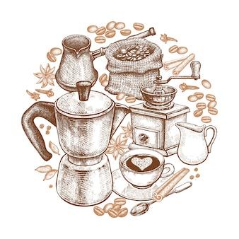 Utensili da cucina per cucinare il caffè. Vettore Premium
