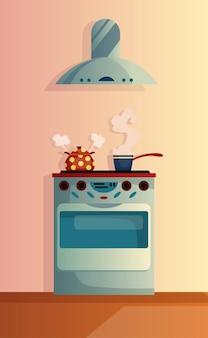 Cucina interna del fumetto illustrazione vettoriale. cucina casalinga con piano cottura e cappa
