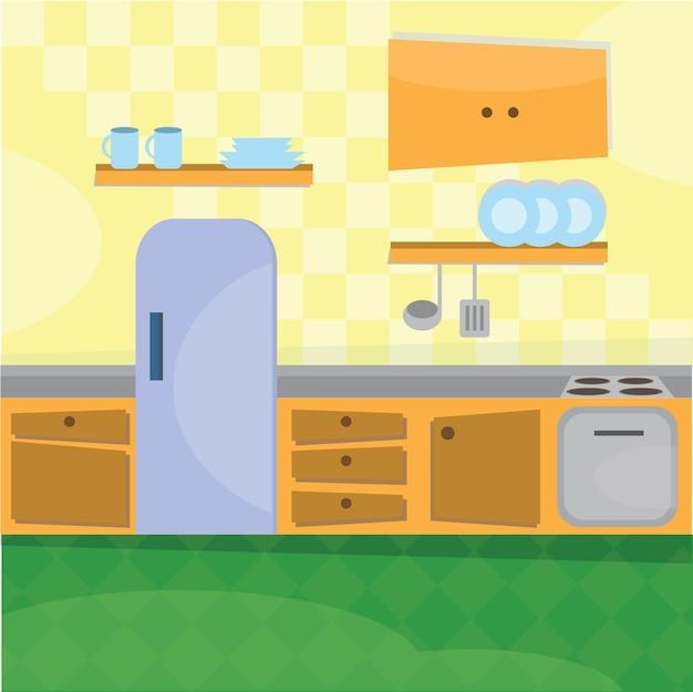Interno della cucina e utensili da cucina - illustrazione vettoriale